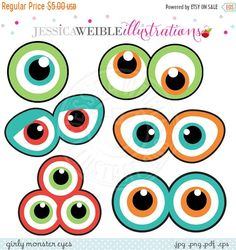 SALE Monster Eyes Cute Printable Birthday Party Favors