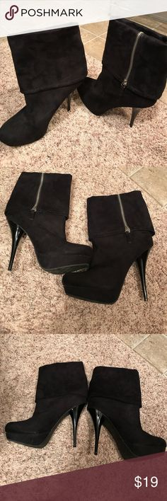 Candies Size 9 Platform Stiletto Booties Candies Brand Black Suede like material booties that zips up the sides . They have a platform heal and also have a stiletto heel . They are in amazing shape and only have been worn a handful of times . I broke my ankle and heel right after I purchased them . They have been worn 2 or 3 times for a few hours at a time . They actually are very comfortable. Candie's Shoes Heeled Boots