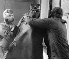 Liquidator team ready to climb the Chernobyl nuclear reactor top after the disaster. (RIA Novosti)