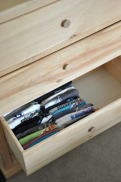 organized t-shirt drawers.  I should try this instead of rolling them lime I've done for so long...