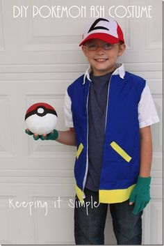 This DIY Pokemon Ash costume is super easy to make and perfect for Halloween! All you have to make is the Pokemon Ash hat, shirt and then Poke ball. Halloween Costumes Kids Boys, Boy Costumes, Halloween Costumes For Kids, Children Costumes, Halloween Stuff, Diy Boys Costume, Cool Costumes For Boys, Costume Ideas, Halloween Makeup