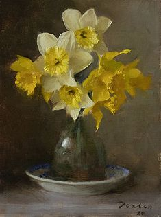 Daffodils, why yellows are hard, and one way to approach them Daffodil Flower, Flower Art, Art Flowers, Cactus Flower, Flowers Garden, Oil Painting Flowers, Oil Painting Abstract, Floral Paintings, Yellow Wildflowers