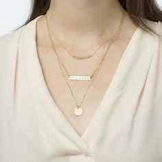 Gemstone Bar Necklace Featured With Layering Set
