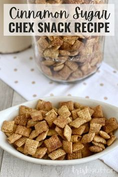 This cinnamon sugar Chex mix recipe is the perfect treat for your sweet tooth! With just a few ingredients, you can make this crunchy and sugary snack in less than an hour. It's perfect for fall and winter parties, an after school snack, Thanksgiving, Christmas, or any time you're craving a cinnamon flavor. #IdeasForTheHome #Kenarry Chex Mix Recipes, Snack Recipes, Winter Parties, Cinnamon Recipes, Salty Snacks, Few Ingredients, Stick Of Butter, Kid Friendly Meals, Holiday Recipes