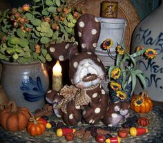 "Primitive Halloween Brown Bunny Rabbit Fall 6"" Doll Vtg Patti's Ratties Bear"