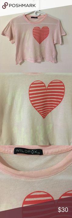 "Wildfox Heart Shirt ""I (Heart) Malibu"" light pink cropped t shirt. Vintage look. Wildfox Tops Tees - Short Sleeve"