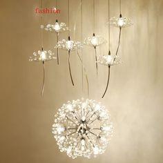 Northern Europe Crystal Chandelier Dandelion Shape Design Compound Floor Ceiling Fan <font><b>Couture</b></font> Restaurant Light Lighting Fixture