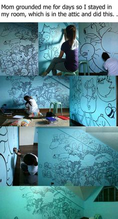 adventure time mural. I'm so inspired right now, so I'm gonna go ruin my room with sharpies^^