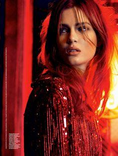 William Graper | Josephine Skriver, Brooklyn, January 15, 2014, Nascar-themed cover shoot for Elle Brazil