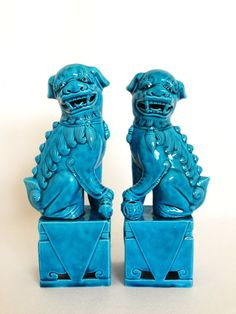 "Vintage Chinoiserie Foo Dogs 8 1/2"" - Turquoise - Asian Home Decor - Hollywood Regency - Turquoise Foo Dogs"