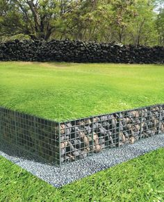 Wonderful! Put some other grasses that don't need to be mowed on top and we're in business.  low gabion wall with lawn over top of gabions