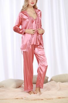 Womens Satin Luxurious Lightweight Paisley Long Sleeve Pyjamas with Belt Three Piece Set Tank Top Satin Sleepwear, Satin Pyjama Set, Satin Pajamas, Sleepwear Women, Pajama Set, Satin Lingerie, Pretty Lingerie, Women Lingerie, Pink Satin Dress