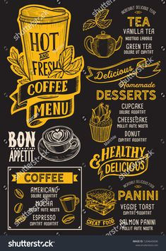 Coffee menu template for restaurant on a blackboard background vector illustration brochure for food and drink cafe. Design layout with vintage lettering and doodle hand-drawn graphic icons. Vintage Cafe Design, Cafe Menu Design, Food Menu Design, Coffee Shop Menu, Coffee Shop Design, Speisenkarten Designs, Menu Café, Cafeteria Menu, Vanilla Tea