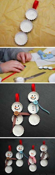 Bottle Cap Snowman Ornaments- these are cute, and would be easy to mass-make. As long as you drink a lot of soda. :) Bottle Cap Snowman Ornaments- these are cute, and would be easy to mass-make. As long as you drink a lot of soda. Snowman Crafts, Snowman Ornaments, Christmas Ornaments, Snowmen, Christmas Snowman, Christmas Projects, Holiday Crafts, Holiday Fun, Homemade Christmas Crafts
