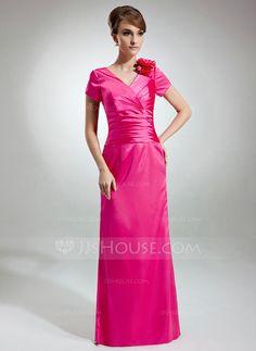 Mother of the Bride Dresses - $109.99 - Sheath V-neck Floor-Length Charmeuse Mother of the Bride Dress With Ruffle Flower(s) (008003491) http://jjshouse.com/Sheath-V-Neck-Floor-Length-Charmeuse-Mother-Of-The-Bride-Dress-With-Ruffle-Flower-S-008003491-g3491?pos=related_products_2