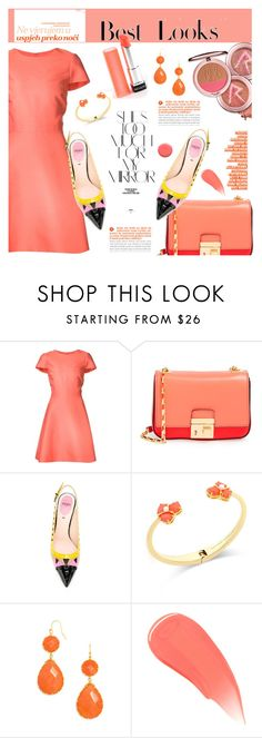 """""""Coral (Top Set 23/02/16)"""" by dorachelariu ❤ liked on Polyvore featuring Monique Lhuillier, Michael Kors, Fendi, MML, Rika, Kate Spade, BaubleBar, Burberry, Lauren B. Beauty and coolcorals"""