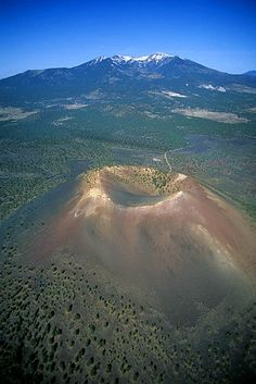 Sunset Crater near Flagstaff, Arizona. Humphreys Peak in the background.
