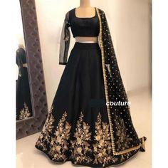 Black tapeta silk embroidered wedding lehenga