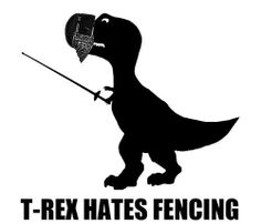 There's no way a T-Rex could parry and riposte with a lunge and hit anything but himself ; Fencing Equipment, Fencing Sport, Fencing Mask, Historical European Martial Arts, Cosplay Anime, Combat Sport, Crazy Socks, T Rex, Fence