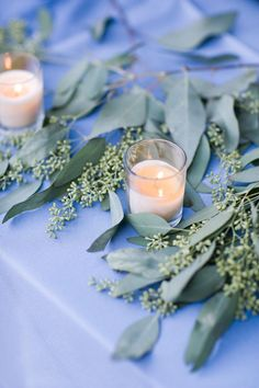 Charleston Wedding by Corbin Gurkin Photography sort of like the seeded eucalyptus as a runner type Blue Table Settings, Christmas Table Settings, Wedding Table, Diy Wedding, Wedding Flowers, Wedding Ideas, Wedding Wishes, Wedding Things, Seeded Eucalyptus
