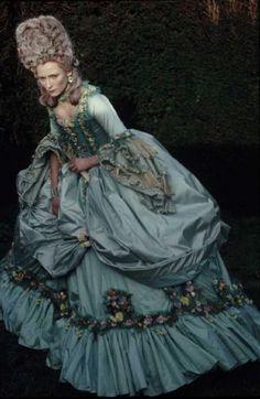 Robe a la française from Orlando. Similar to a Boucher painting of Madame de Pompadour.