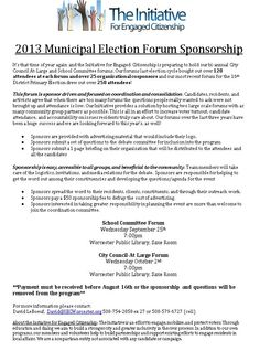 Municipal Election Forum Sponsorship Form  Community Board
