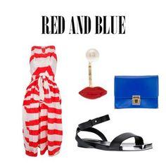 Red and blue. #danielagregis #dress #stripes #erikacavallini #bag #clutch #seebychloe #sandals #shoes #delfinadelettrez #jewellery #ootd #dolcitrame