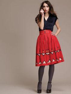 lauren moffat, circle skirt, t strap heels, grey stockings