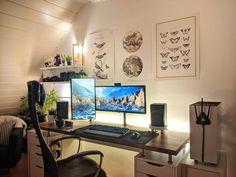 Gaming Room Setup, Computer Setup, Pc Setup, Office Setup, Desk Setup, Desk Inspiration, Desk Inspo, Game Room Design, Gamer Room