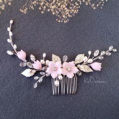 Bridal Hair Flowers, Bridal Hair Vine, Rose Flowers, Flower Hair, Bridal Comb, Headpiece Wedding, Hair Comb Wedding, Wedding Veils, Bridal Headpieces