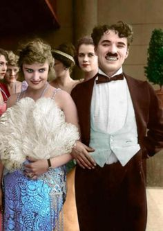 A colorized photo of Charlie Chaplin