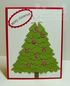 A cute little Christmas tree made out of a scallop circle punch!  Another way for me to use the punches I keep buying...