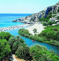 The Amazing Preveli Palm Beach and River, Rethymno, Crete island, Greece