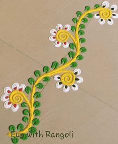 Rangoli Designs Simple Diwali, Simple Rangoli Border Designs, Indian Rangoli Designs, Rangoli Borders, Rangoli Designs Flower, Rangoli Patterns, Free Hand Rangoli Design, Small Rangoli Design, Rangoli Ideas