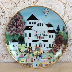 Birthday Gala Plate Wooster Scott American Folk Art Col Porcelain LE Victorian