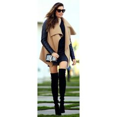 Women's fashion Wrap coat and over the knee boots ❤ liked on Polyvore featuring shoes, boots, thigh boots, above knee boots, over the knee boots, above the knee boots and thigh high boots