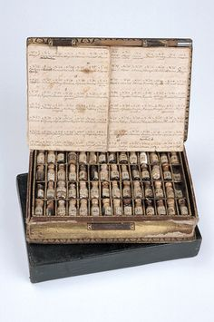 I love seeing old medical style meds and procedures. [Homoeopathic medicine case in form of a pocket-book containing 112 different bottles of medicaments with list] via the Museum of the History of Science Wicca, Mode Halloween, Medicine Bottles, Witch Aesthetic, Medical History, Book Of Shadows, Witchcraft, Cool Stuff, Antiques