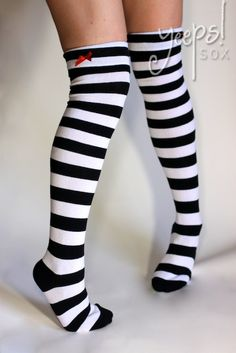Run away to the circus with these sexy yet playful striped socks.  Black and White Striped with Red bow accent & cuff.  $12.00  over the knee socks, thigh high striped, striped socks, black & white