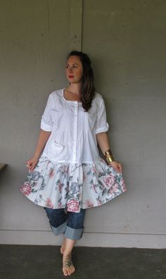 Romantic upcycled dress Bohemian clothing by lillienoradrygoods
