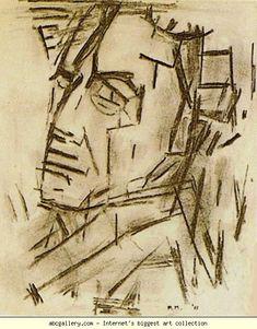 Piet Mondrian.  Self-Portrait / Zelfportret.  1912-13. Charcoal on paper. 28 x 23 cm. Sidney Janis Collection,  New York, NY, USA. Mondrian Art, Dutch Painters, Dutch Artists, Gouache, Cubism, Portrait Inspiration, Figurative Art, Niederländischer Maler, L Abstraction