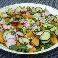 Spicy Cantaloupe Salad.  Very sophisticated ands always gets people talking.  Perfect for a summer patio supper.