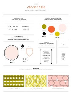 """""""Marlowe"""" suite from MaeMae Paperie. // Their suites are excellent examples of design organization and inspiring style guides."""
