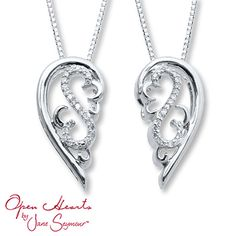 Open Hearts Necklace Set|1/10 Ct Tw Diamonds|sterling Silver