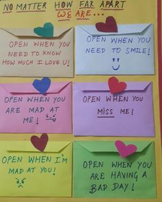 """Open when"" cards for ur boyfriend or hubby. A perfect gift for couples doing the long distant thingy. Inexpensive and straight from ur heart that can be treasured forever!"