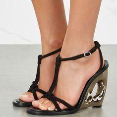 ca5e97f202f2 Alexander McQueen Black Suede Wedge Sandals