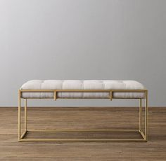 RH Baby Kellen Upholstered Bench in Dusty Petal/Brass x Steel Furniture, Sofa Furniture, Cheap Furniture, Modern Furniture, Furniture Design, Furniture Online, Furniture Outlet, Leather Ottoman, Ottoman Bench
