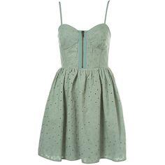 Broidery Cup Sundress (91 CAD) ❤ liked on Polyvore featuring dresses, vestidos, short dresses, sukienki, women, mini dress, green color dress, zipper mini dress, sun dresses and green sundress