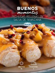 Crea los mejores momentos en compañía de tu familia y unas Pechugas rellenas en salsa de manzana. #recetas #receta #quesophiladelphia #philadelphia #crema #quesocrema #queso #comida #cocinar #cocinamexicana #recetasfáciles #recetasPhiladelphia #recetasdecocina #comer #pechugas #pollo #recetaspollo #manzana #salsa #recetasmanzana #comida #cena #cenanavideña #recetasnavidad #navidad #recetasparanavidad