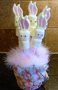Marshmallows bunnies for centerpiece!