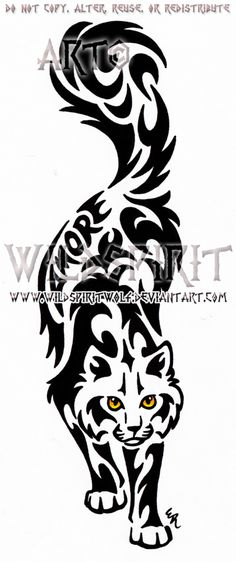 Amore Cat Tribal Design by WildSpiritWolf.deviantart.com on @deviantART